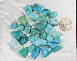 Wholesale lot Genuine Natural Dominican Sky Blue Larimar Polished Cabochons