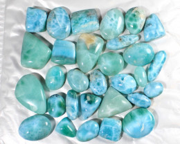 Wholesale lot 30 Genuine Natural Dominican Sky Blue Larimar Polished Caboch
