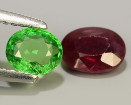 1.55 Cts Gorgeous!Jumbo!Oval Facet Top Blood Red Natural RUBY And TSAVORITE