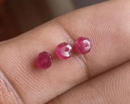 Natural Ruby Beads Parcel of 3 Pcs Genuine Gemstones VA2529
