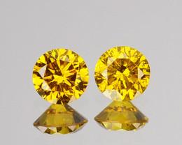 ~SPARKLING~ 0.07 Cts Natural Golden Diamond 2.0mm Round 2Pcs Africa