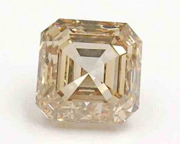 1.29ct Natural Fancy Light Browb Emerald Cut  Diamond IGI certified  + Vide