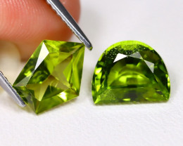 Peridot 3.86Ct 2Pcs Fancy Cut Natural Neon Green Peridot A0612