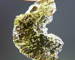 Glossy Natural Moldavite with Olive green color