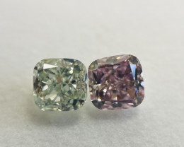 GIA Certified 1.55 Carat Mixed Natural Loose Fancy Green and Fancy Pink Dia