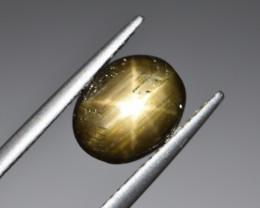 Natural Black Star Sapphire 3.13 Cts, Six Rays