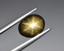 Natural Black Star Sapphire 3.22 Cts, Six Rays