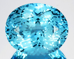~CUSTOM CUT~ 5.57 Cts Natural Swiss Blue Topaz Stunning Fancy Oval Brazil