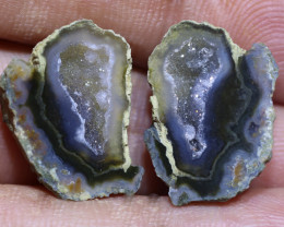 15.50 carats Untreated Crystalized Druzy Geode pair   ANGC-859