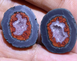 27.90 carats Untreated Crystalized Druzy Geode pair   ANGC-860