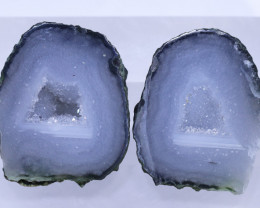 30.60 carats Untreated Crystalized Druzy Geode pair   ANGC-862