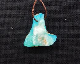 14cts Raw Blue Opal Pendant, October Birthstone, Blue Opal Pendant Bead H12