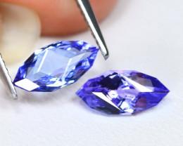 Tanzanite 1.77Ct VVS Master Cut Natural Purplish Blue Tanzanite Pair ET04