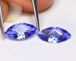 Tanzanite 1.24Ct VVS Master Cut Natural Purplish Blue Tanzanite Pair ET09