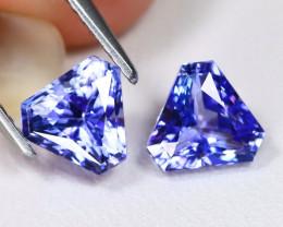 Tanzanite 2.02Ct VVS Trillion Cut Natural Purplish Blue Tanzanite Pair ET11