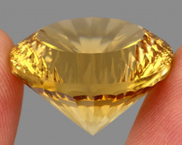 Big Size Very Clean 46.53 Ct.  Round Concave Cut 100% Natural Yellow Citrin