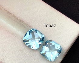 5.20 ct Attractive Blue Swiss Topaz Pair Ring Size