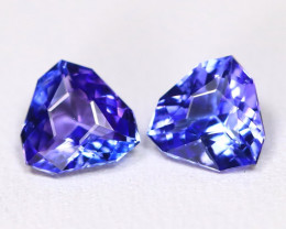 Tanzanite 1.57Ct VVS Master Cut Natural Purplish Blue Tanzanite Pair ET29