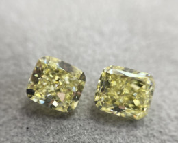 GIA Cushion 4.05 Total Carat Weight Natural Loose Fancy Yellow Diamond Pair