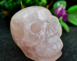 Genuine 927 Cts Rose Quartz Hand Carved Skull Carving