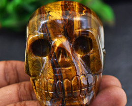 Genuine 879 Cts Tiger Eye Hand Carved Skull Carving