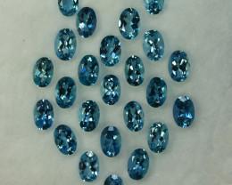 9.94Cts Natural Nice Blue Aquamarine 6x4mm Oval Cut 24 Pcs Parcel Brazil