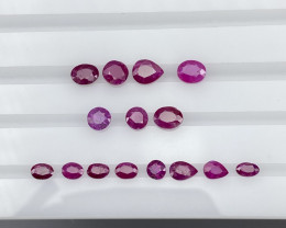 Natural Kashmir Ruby 6.30 cts 15 pieces An Unique Parcel