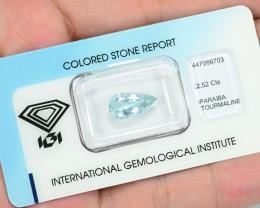 IGI Certified Paraiba Tourmaline 2.52 Cts Natural Blue Green Copper Bearing
