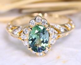 Peacock Tanzanite 1.57Ct Engagement 9K Gold VS Diamond Ring J55R