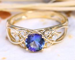 Blue Tanzanite 1.48Ct Engagement 10K Gold VS Diamond Ring J134R