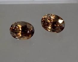 Glittering Pair of Golden Brown Australian Zircon Pair