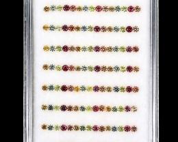 3.73 ct 1.7mm 135pcs. Round Diamond Cut Natural Pad Orang Yell Green Sapphi