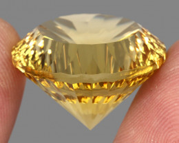 Big Size Very Clean 43.68 Ct. 23mm Round Concave Cut 100% Natural Yellow Ci