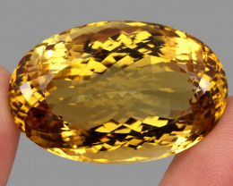 Museum Size Very Clean 101.89ct 37x24mm Oval Cut  Natural AAA Yellow Citrin