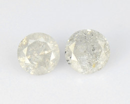 *NoReserve* Grey  Diamond 0.10 Cts 2 Pcs Untreated Natural Loose