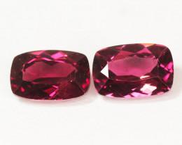 1.52 Cts Paired Unheated Natural Pinkish Red Rhodolite Garnet Gemstone