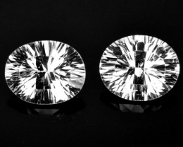 ~CONCAVE CUT~ 6.36 Cts Natural Sparkling White Topaz 10x8mm Oval 2Pcs Brazi