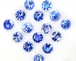 2.22 Cts Natural Purple Blue Tanzanite 3mm Round Cut 15Pcs Tanzania