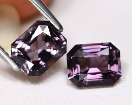 Spinel 2.17Ct VVS Octagon Cut Natural Burmese Purple Spinel Pair ET119