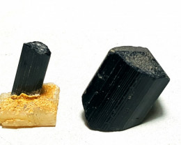 Amazing Natural Damage free Black Tourmaline  2 Specimens 102Cts-P