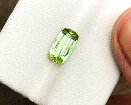 HGTL CERTIFIED 1.70 Ct Natural Blueish Green Transparent Tourmaline Gemston