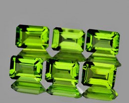 6x4 mm Octagon 6 pcs  3.43cts Green Peridot [VVS]