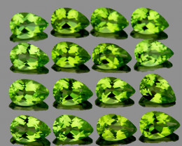 5x3 mm Pear 16 pcs 3.45cts Green Peridot [VVS]