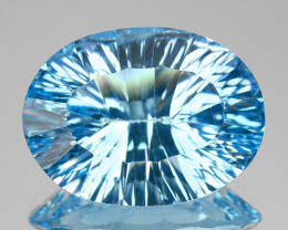 ~CONCAVE BEAUTY~ 9.90 Cts Natural Blue Topaz 16x12mm Oval Brazil