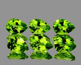 7x5 mm Pear 6 pcs 4.49cts Green Peridot [VVS]