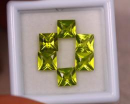 3.95Ct Natural Green Peridot Square Cut Lot LZ7338