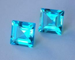 3.80 Cts Excellent Swiss Blue Topaz Wonderful Sqare Cut Pair Gem!!