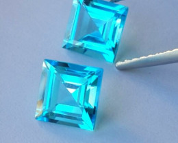 4.40 Cts Excellent Swiss Blue Topaz Wonderful Sqare Cut Pair Gem!!