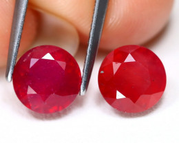 Red Ruby 4.22Ct 2Pcs Round Cut Pigeon Blood Red Ruby C2113