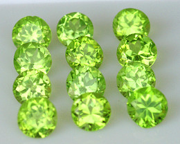 1.30 mm Round Machine Cut 1.01ct Green Peridot [VVS]